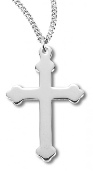 "Women's Sterling Silver High Polish Scroll Cross Necklace with Chain Options - 18"" 2.1mm Rhodium Plate Chain + Clasp"