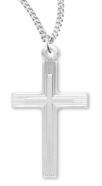 "Women's Sterling Silver Double Cross Etch Necklace with Chain Options - 18"" 2.1mm Rhodium Plate Chain + Clasp"