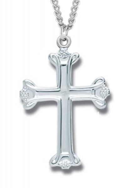 "Women's Sterling Silver Budded Cross Necklace with Chain Options - 18"" 2.1mm Rhodium Plate Chain + Clasp"