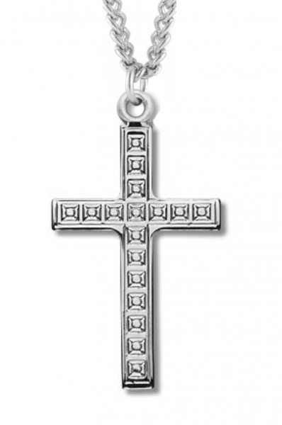 "Women's Sterling Silver Cross Necklace with Cubed Etching with Chain Options - 18"" 2.1mm Rhodium Plate Chain + Clasp"