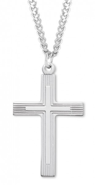 "Men's Sterling Silver Cross Necklace with Etched Borders with Chain Options - 24"" 2.4mm Rhodium Plate Chain + Clasp"