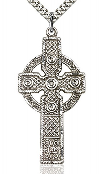 "Cross Pendant, Sterling Silver - 24"" 2.4mm Rhodium Plate Chain + Clasp"