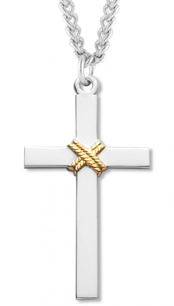 "Men's Sterling Silver Cross Necklace with Gold Rope Center with Chain Options - 24"" Sterling Silver Chain + Clasp"