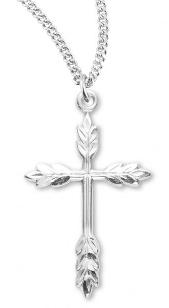 "Women's Sterling Silver Wheat Design Border Cross Necklace Wheat Design with Chain Options - 18"" 1.8mm Sterling Silver Chain + Clasp"