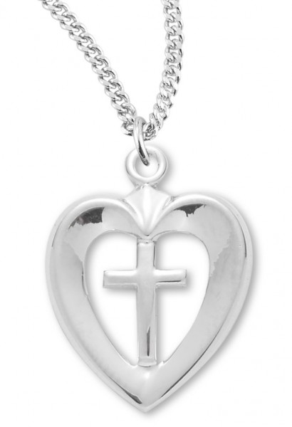 "Women's Sterling Silver Open Heart Necklace with Cross Center with Chain Options - 18"" 2.1mm Rhodium Plate Chain + Clasp"