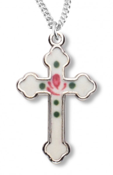 Cross Necklace with White Enamel, Sterling Silver with Chain - Sterling Silver
