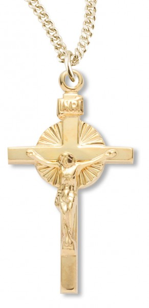 Women's 14kt Gold Over Sterling Silver Sunburst Center Crucifix Pendant + 18 Inch Gold Plated Chain & Clasp - Gold-tone