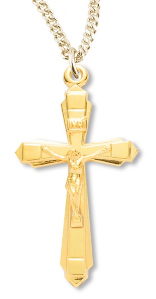 Women's 14kt Gold Over Sterling Silver Contemporary Crucifix Pointy Tips + 18 Inch Gold Plated Chain - Gold-tone