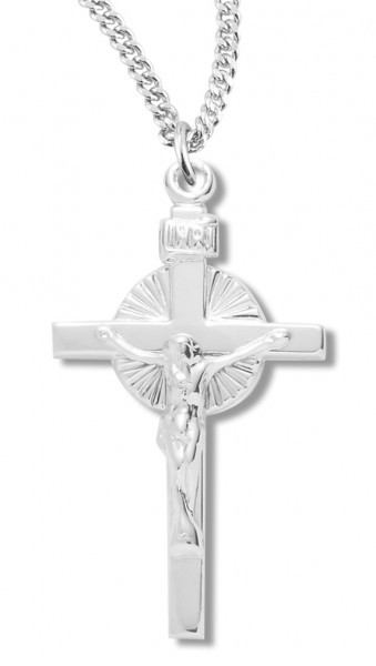"Women's Sterling Silver Polished Crucifix Necklace with Chain  Options - 20"" 2.25mm Rhodium Plated Chain with Clasp"