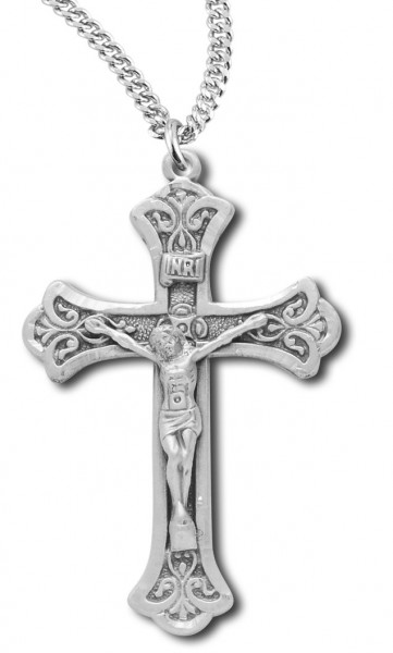 "Women's or Boy's Sterling Silver Ornate Tip Matte Finish Crucifix Necklace with Chain - 20"" 2.25mm Rhodium Plated Chain with Clasp"