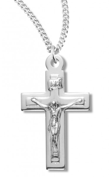 "Women's Sterling Silver Plain Crucifix Necklace with Raised Center with Chain Options - 18"" 2.1mm Rhodium Plate Chain + Clasp"