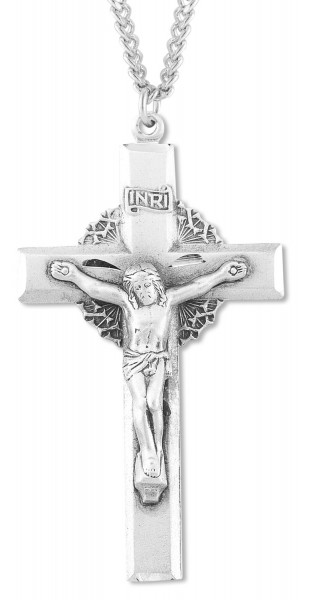 Mens sterling silver crucifix pendant with wreath of thorns mens sterling silver crucifix pendant with wreath of thorns 24quot rhodium plate endless chain aloadofball Images