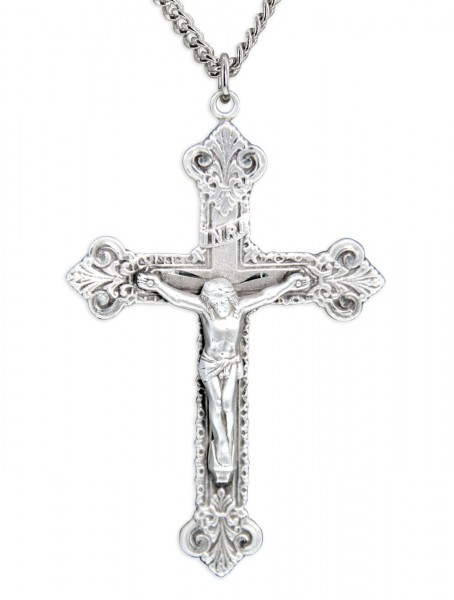 "Men's Sterling Silver Budded Edge Crucifix Pendant with Chain Options - 24"" Rhodium Plate Endless Chain"