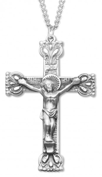 "Men's Sterling Silver Crucifix Necklace with Crown Tips with Chain Options - 24"" 2.4mm Rhodium Plate Chain + Clasp"