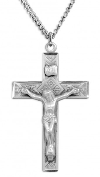 "Men's Large Sterling Silver Diamond Etched Crucifix Necklace with Chain Options - 20"" 2.25mm Rhodium Plated Chain with Clasp"