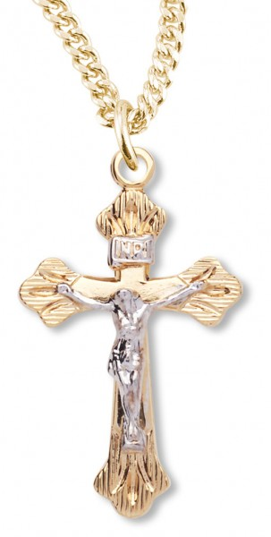 Women s 14kt Gold Plated Two-tone Crucifix Necklace Etched Tips +1 8 Inch  Gold 3866c4c158