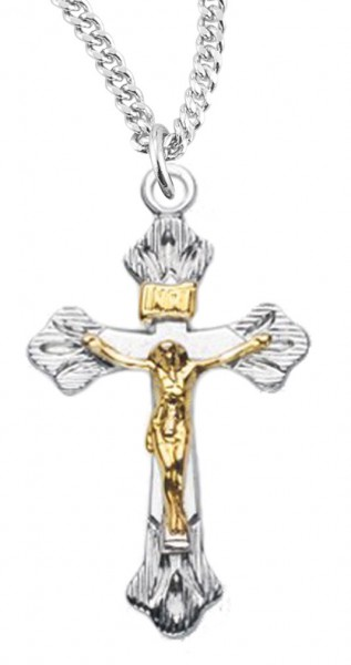 Women s Sterling Silver and Gold Filled Crucifix Necklace Wide Etched Tips  with Chain Options - Two 7cf8d60745