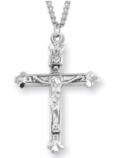 "Women's or Boy's Crucifix Necklace with Beaded Border, Sterling Silver with Chain - 20"" 2.25mm Rhodium Plated Chain with Clasp"