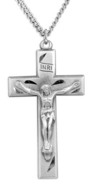 "Men's Sterling Silver Traditional Crucifix Necklace with Chain Options - 24"" 2.4mm Rhodium Plate Chain + Clasp"