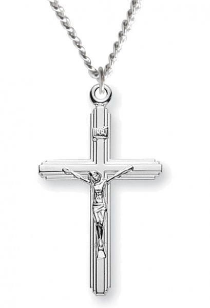 Crucifix with cross on cross necklace sterling silver with chain crucifix with cross on cross necklace sterling silver with chain 18quot 21mm aloadofball Image collections