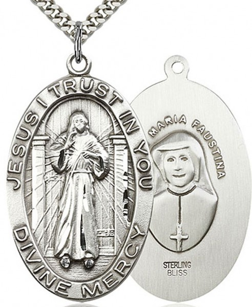 "Divine Mercy Medal, Sterling Silver - 24"" 2.4mm Rhodium Plate Chain + Clasp"