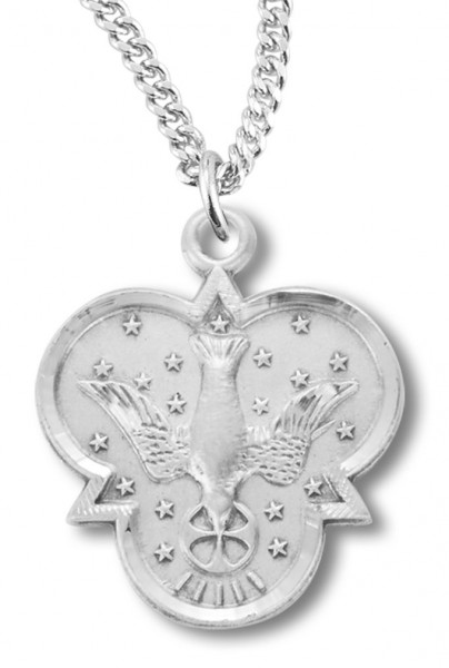 "Women's Sterling Silver Holy Trinity Descending Dove Necklace with Chain Options - 20"" 2.25mm Rhodium Plated Chain with Clasp"