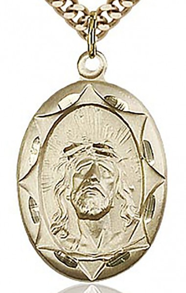 "Ecce Homo Medal, Gold Filled - 24"" 2.4mm Gold Plated Chain + Clasp"