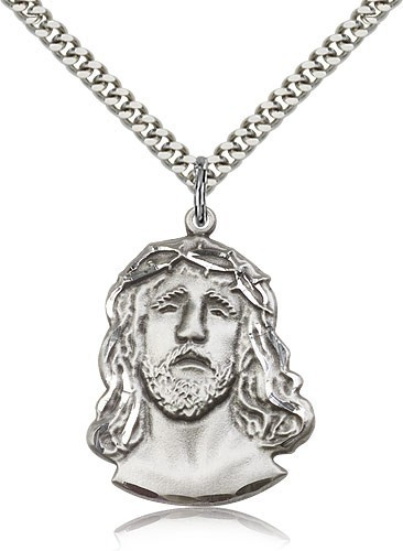 "Ecce Homo Medal, Sterling Silver - 24"" Sterling Silver Chain + Clasp"
