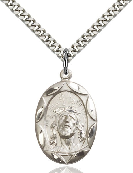 "Ecce Homo Medal, Sterling Silver - 24"" 2.2mm Sterling Silver Chain + Clasp"