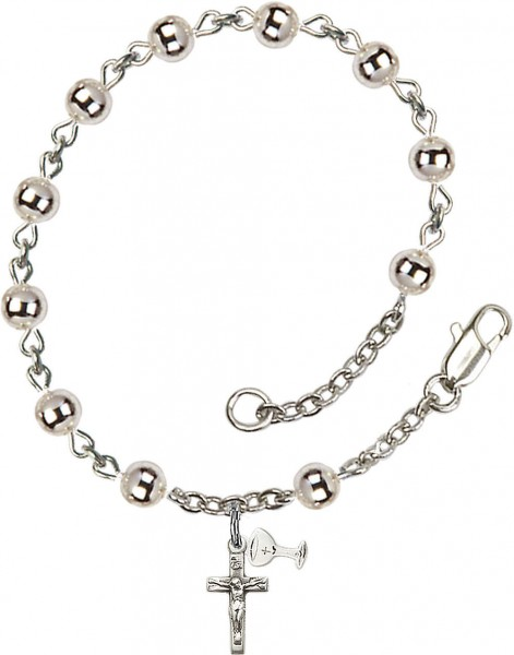 First Communion Silver Plated Charm Bracelet with 5mm Round Silver Beads - Rhodium Plated