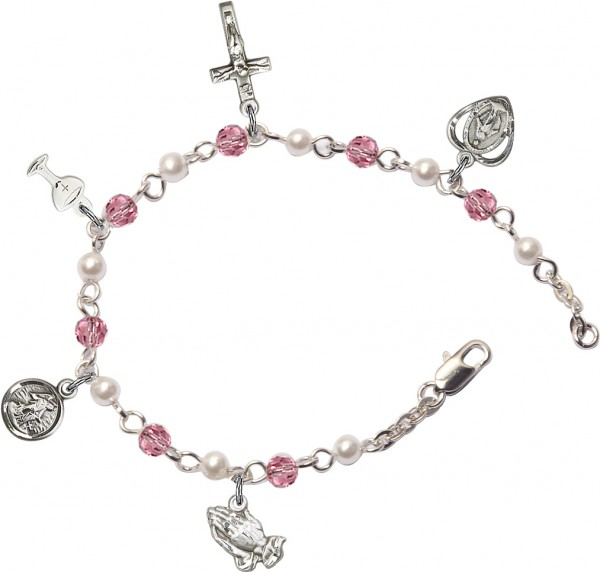 First Communion Silver Plated Charm Bracelet with Pink Swarovski Crystals and Faux Pearl Beads - Rhodium Plated