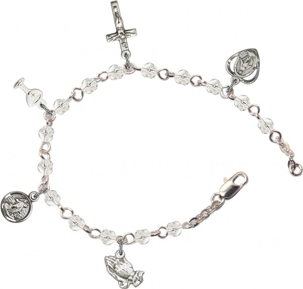 First Communion Silver Plated Charm Bracelet with Swarovski Crystals - Rhodium Plated