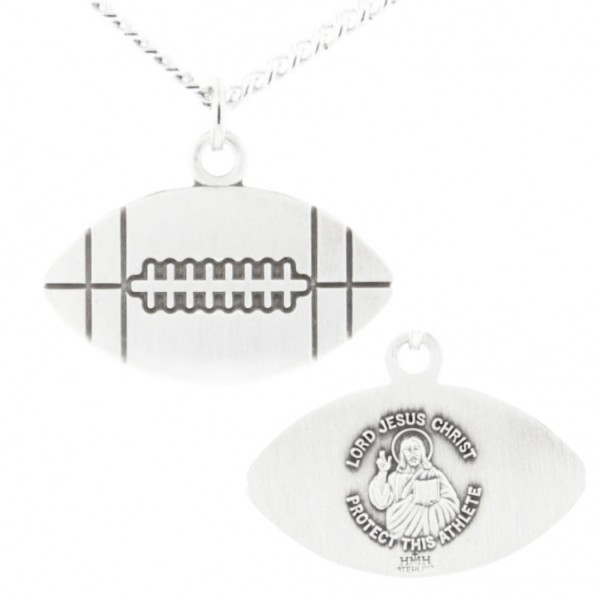 "Football Shape Necklace with Jesus Figure Back in Sterling Silver - 24"" Sterling Silver Chain + Clasp"