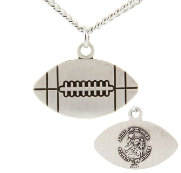 "Football Shaped Necklace with Saint Christopher Back in Sterling Silver - 24"" 2.4mm Rhodium Plate Endless Chain"
