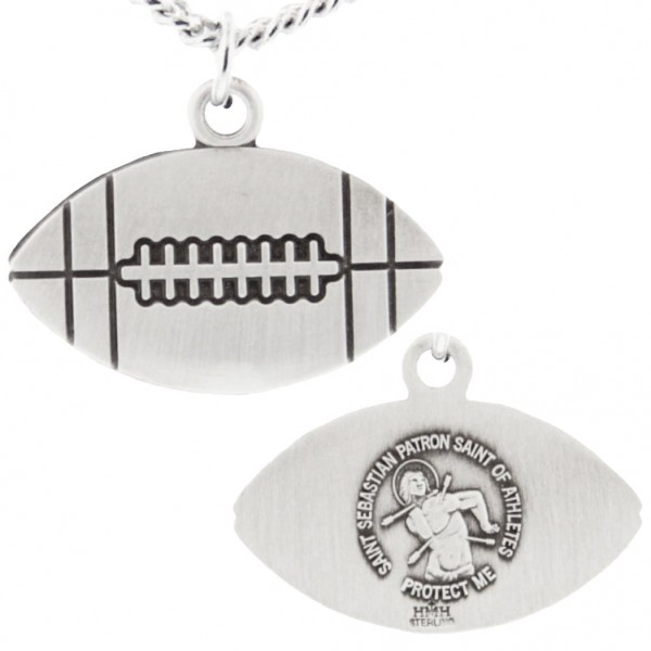 "Football Shaped Necklace with Saint Sebastian Back in Sterling Silver - 24"" 2.4mm Rhodium Plate Endless Chain"