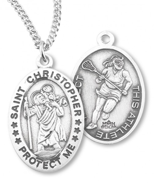 "Girl's Oval Double-Sided Lacrosse Necklace with Saint Christopher in Sterling Silver - 18"" 2.1mm Rhodium Plate Chain + Clasp"