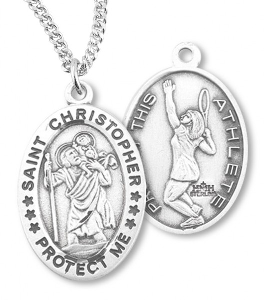 "Girl's Oval Double-Sided Tennis Necklace with Saint Christopher Sterling Silver - 18"" 2.1mm Rhodium Plate Chain + Clasp"
