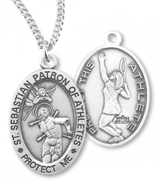 "Girl's Oval Double-Sided Tennis Necklace with Saint Sebastian Back in Sterling Silver - 20"" 2.25mm Rhodium Plated Chain with Clasp"