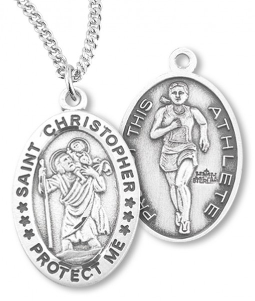 "Girl's Oval Double-Sided Track Necklace with Saint Christopher in Sterling Silver - 18"" 2.1mm Rhodium Plate Chain + Clasp"