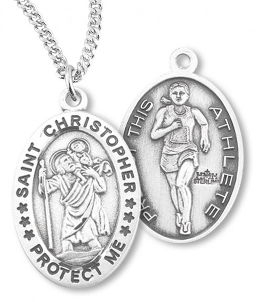 "Girl's Oval Double-Sided Track Necklace with Saint Christopher in Sterling Silver - 20"" 1.8mm Sterling Silver Chain + Clasp"