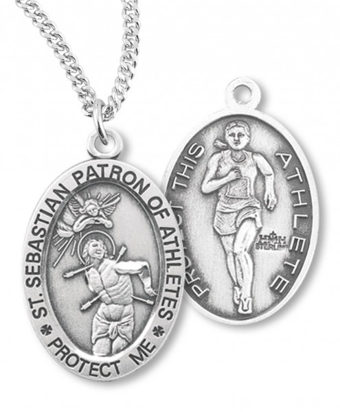 "Girl's Oval Double-Sided Track Necklace with Saint Sebastian Back in Sterling Silver - 18"" 1.8mm Sterling Silver Chain + Clasp"