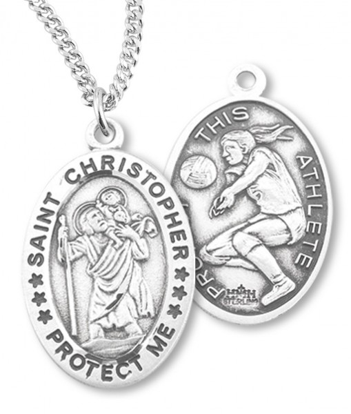 "Girl's Oval Double-Sided Volleyball Necklace with Saint Christopher in Sterling Silver - 18"" 2.1mm Rhodium Plate Chain + Clasp"