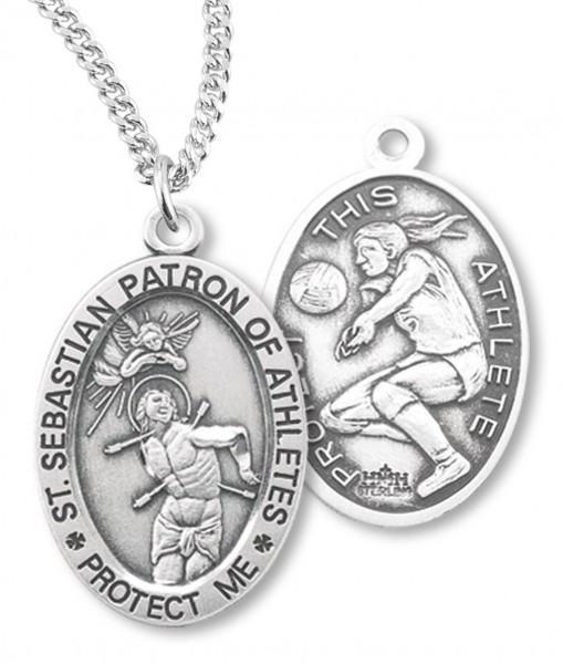 "Girl's Oval Double-Sided Volleyball Necklace with Saint Sebastian Back in Sterling Silver - 18"" 2.1mm Rhodium Plate Chain + Clasp"