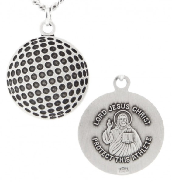 "Golf Ball Shape Necklace with Jesus Figure Back in Sterling Silver - 20"" 2.25mm Rhodium Plated Chain with Clasp"