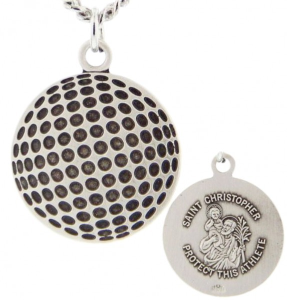 "Golf Ball Shaped Necklace with Saint Christopher Back in Sterling Silver - 20"" 2.25mm Rhodium Plated Chain with Clasp"