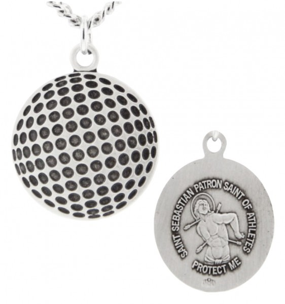 "Golf Ball Shaped Necklace with Saint Sebastian Back in Sterling Silver - 24"" 2.4mm Rhodium Plate Chain + Clasp"