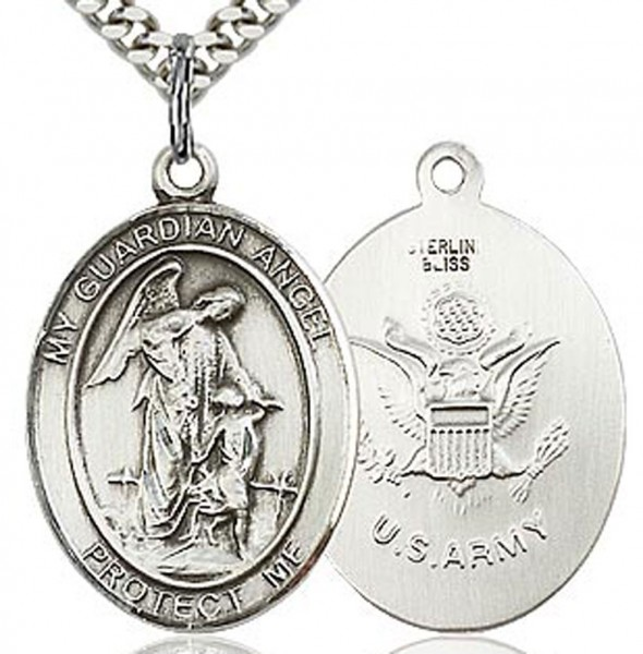 "Guardian Angel Army Medal, Sterling Silver, Large - 24"" 2.4mm Rhodium Plate Chain + Clasp"