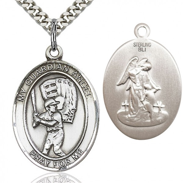 "Guardian Angel Baseball Medal, Sterling Silver, Large - 24"" Rhodium Plate Chain + Clasp"
