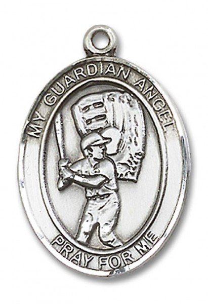 Guardian Angel Baseball Medal, Sterling Silver, Large - No Chain
