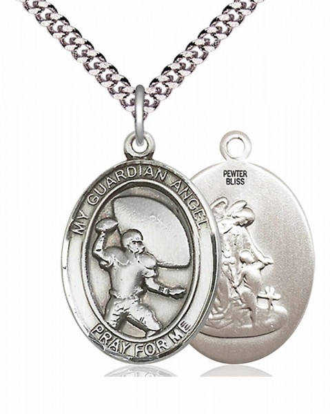 "Guardian Angel Football Medal, Sterling Silver, Large - 24"" 2.4mm Rhodium Plate Chain + Clasp"